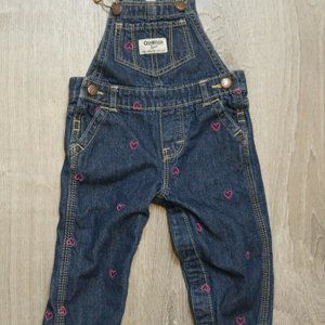 Osh Kosh Baby Overalls 9 M Vestbak Blue Denim Pink